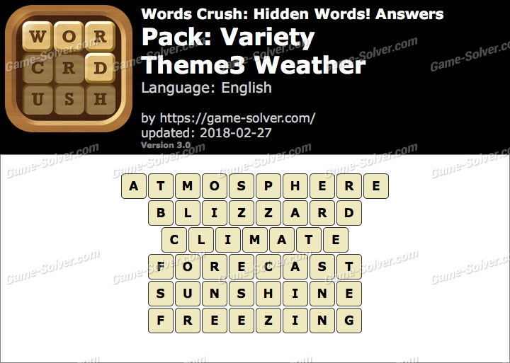 Words Crush Variety-Theme3 Weather Answers
