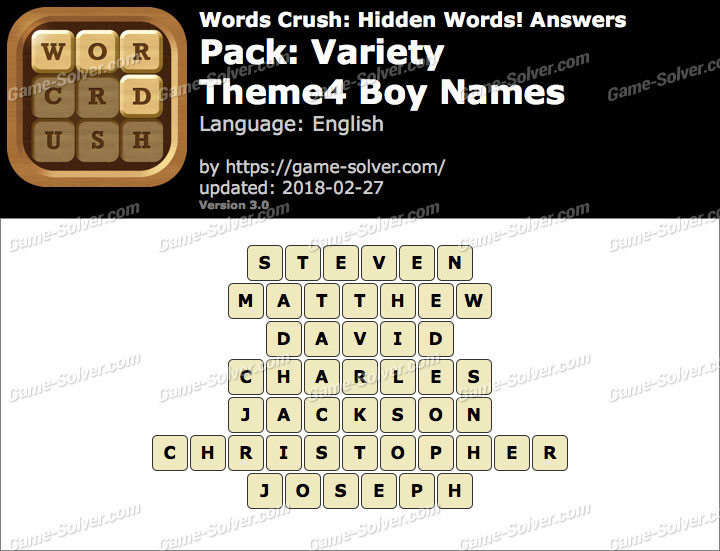 Words Crush Variety-Theme4 Boy Names Answers