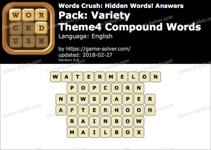 Words Crush Variety-Theme4 Compound Words Answers