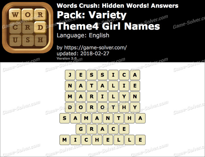 Words Crush Variety-Theme4 Girl Names Answers