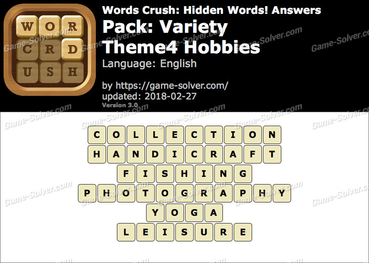 Words Crush Variety-Theme4 Hobbies Answers