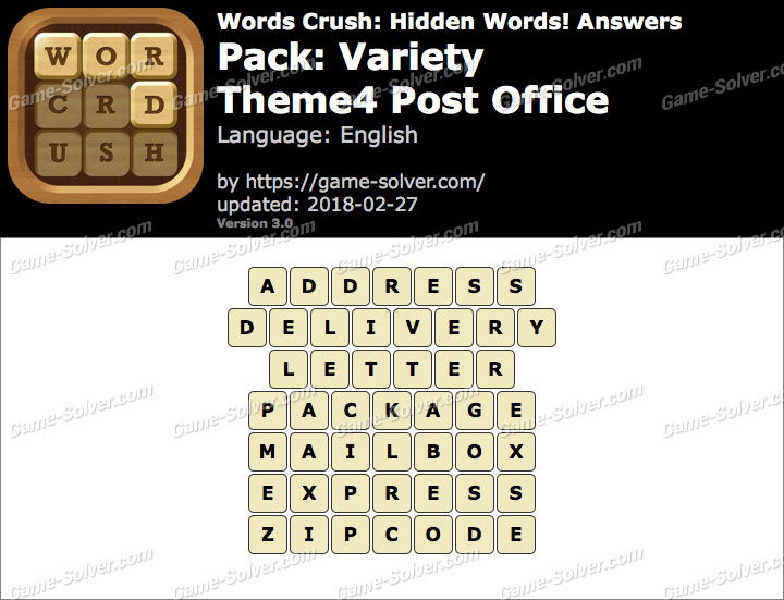 Words Crush Variety-Theme4 Post Office Answers