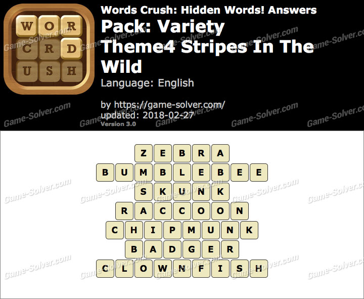 Words Crush Variety-Theme4 Stripes In The Wild Answers