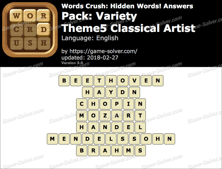Words Crush Variety-Theme5 Classical Artist Answers