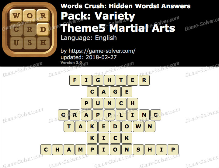Words Crush Variety-Theme5 Martial Arts Answers