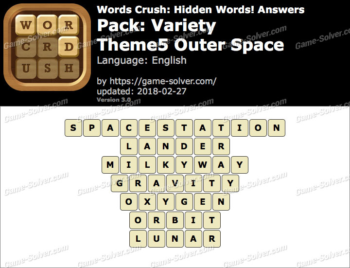 Words Crush Variety-Theme5 Outer Space Answers
