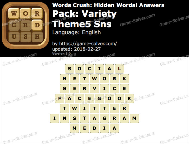 Words Crush Variety-Theme5 Sns Answers