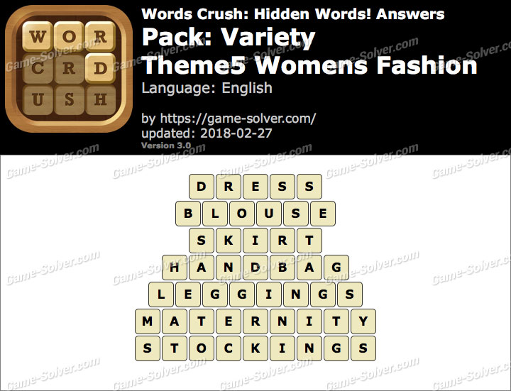 Words Crush Variety-Theme5 Womens Fashion Answers
