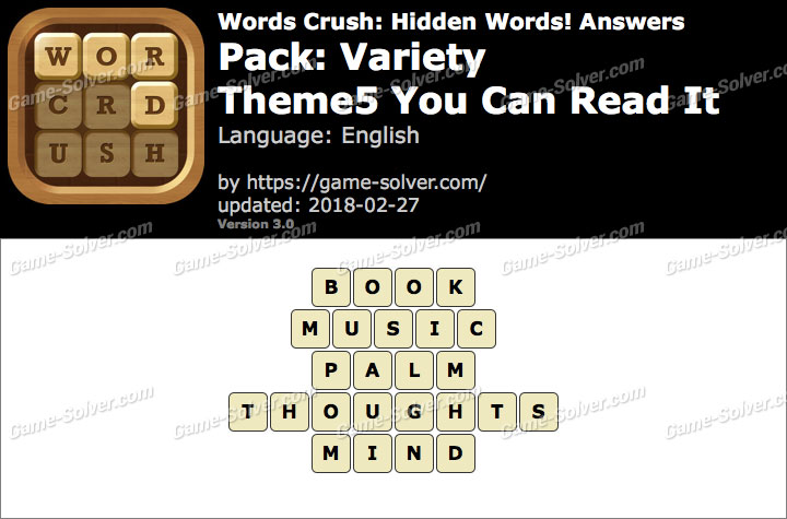 Words Crush Variety-Theme5 You Can Read It Answers