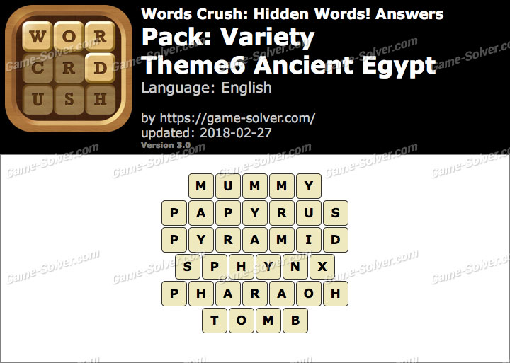 Words Crush Variety-Theme6 Ancient Egypt Answers