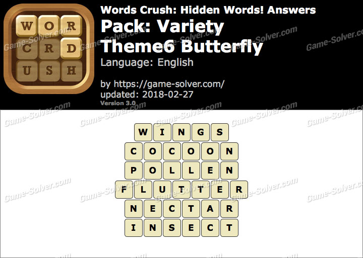 Words Crush Variety-Theme6 Butterfly Answers
