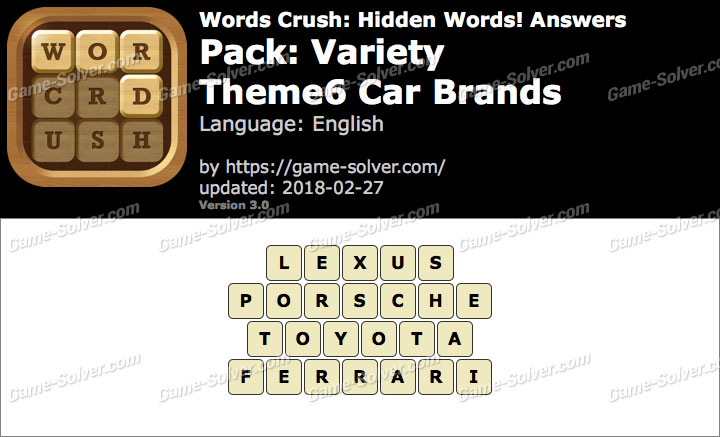 Words Crush Variety-Theme6 Car Brands Answers
