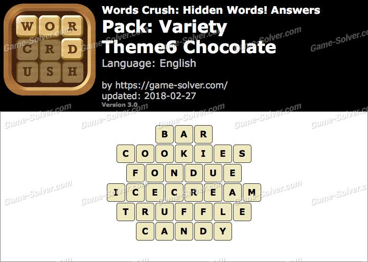 Words Crush Variety-Theme6 Chocolate Answers