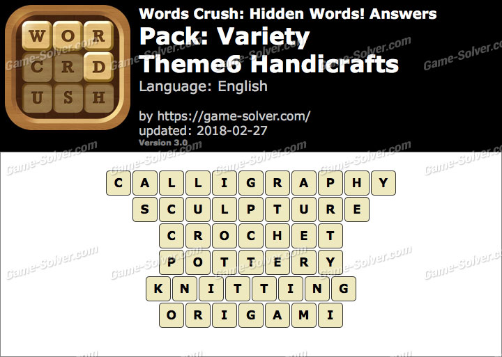 Words Crush Variety-Theme6 Handicrafts Answers