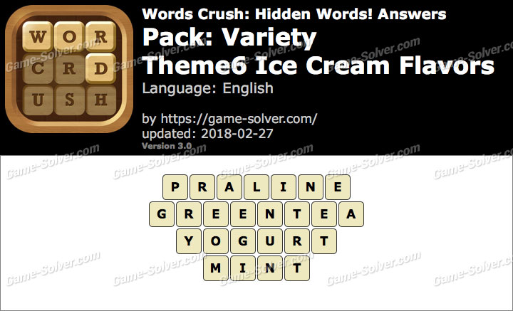 Words Crush Variety-Theme6 Ice Cream Flavors Answers