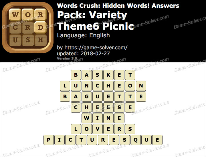 Words Crush Variety-Theme6 Picnic Answers