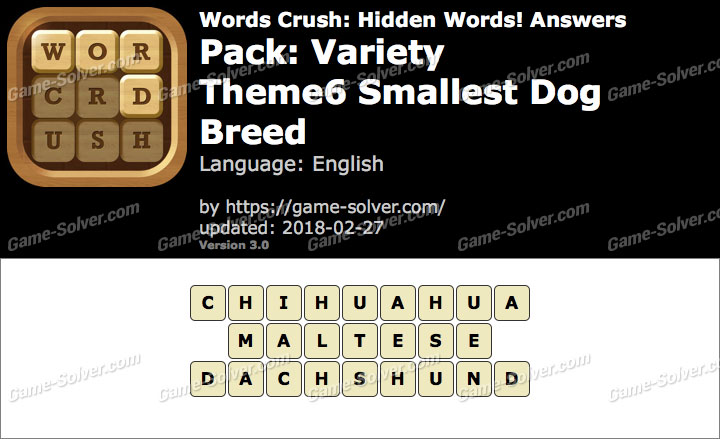 Words Crush Variety-Theme6 Smallest Dog Breed Answers