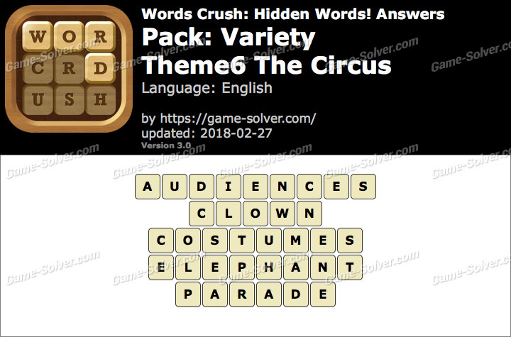 Words Crush Variety-Theme6 The Circus Answers