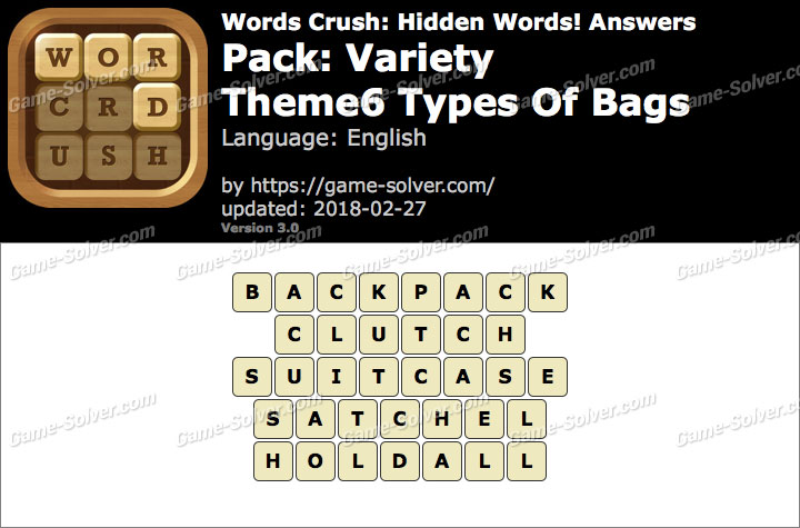 Words Crush Variety-Theme6 Types Of Bags Answers