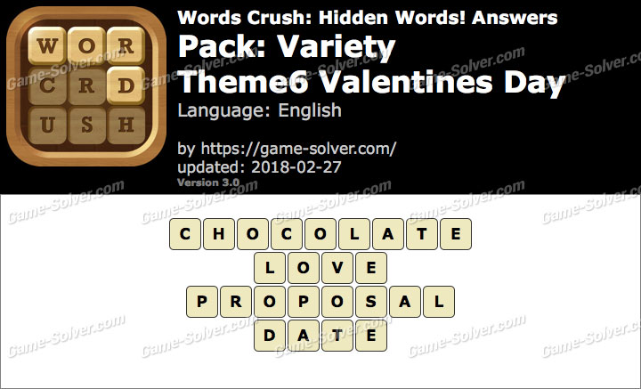 Words Crush Variety-Theme6 Valentines Day Answers