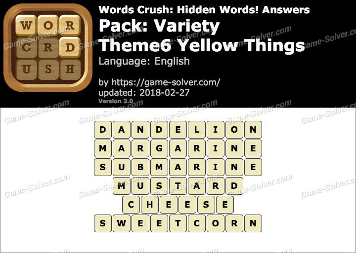Words Crush Variety-Theme6 Yellow Things Answers