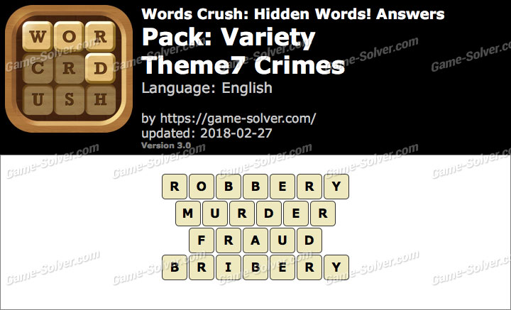 Words Crush Variety-Theme7 Crimes Answers