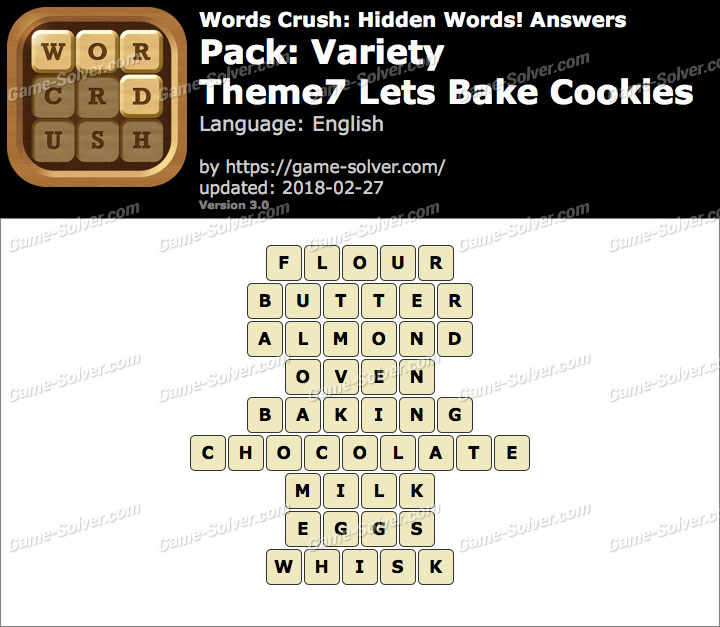 Words Crush Variety-Theme7 Lets Bake Cookies Answers