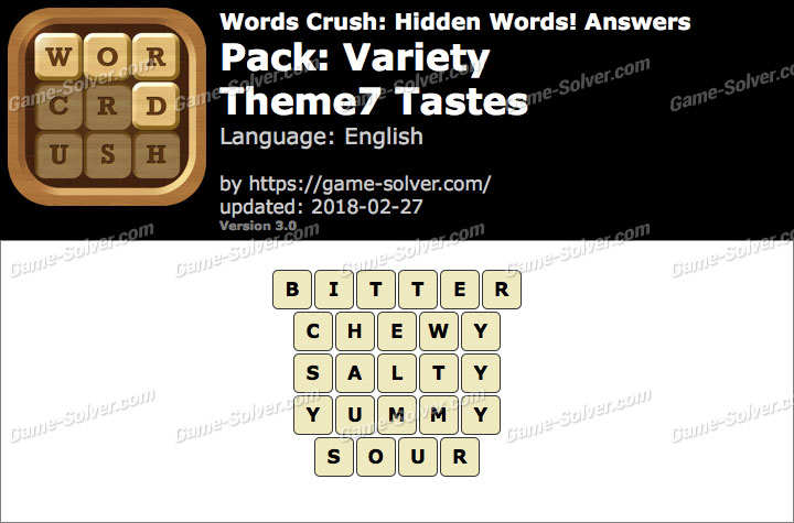 Words Crush Variety-Theme7 Tastes Answers
