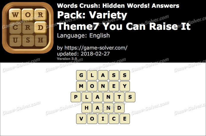 Words Crush Variety-Theme7 You Can Raise It Answers
