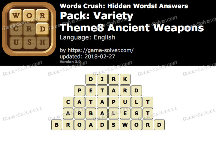 Words Crush Variety-Theme8 Ancient Weapons Answers