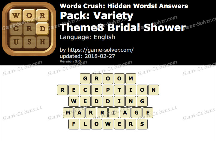 Words Crush Variety-Theme8 Bridal Shower Answers