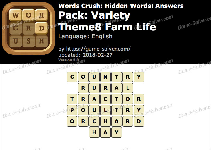Words Crush Variety-Theme8 Farm Life Answers