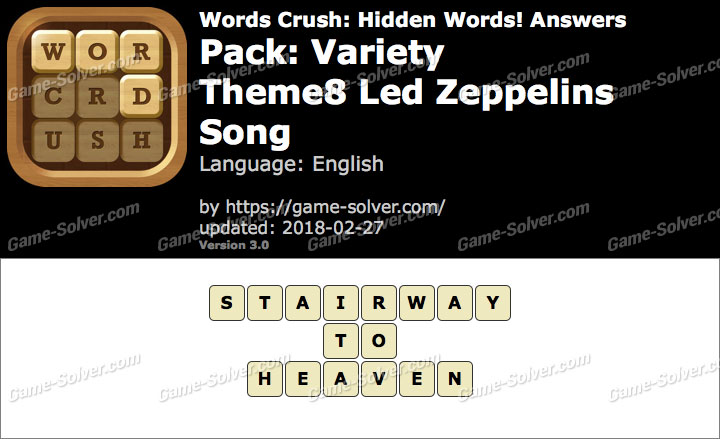Words Crush Variety-Theme8 Led Zeppelins Song Answers