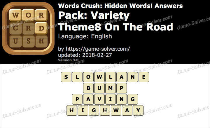 Words Crush Variety-Theme8 On The Road Answers