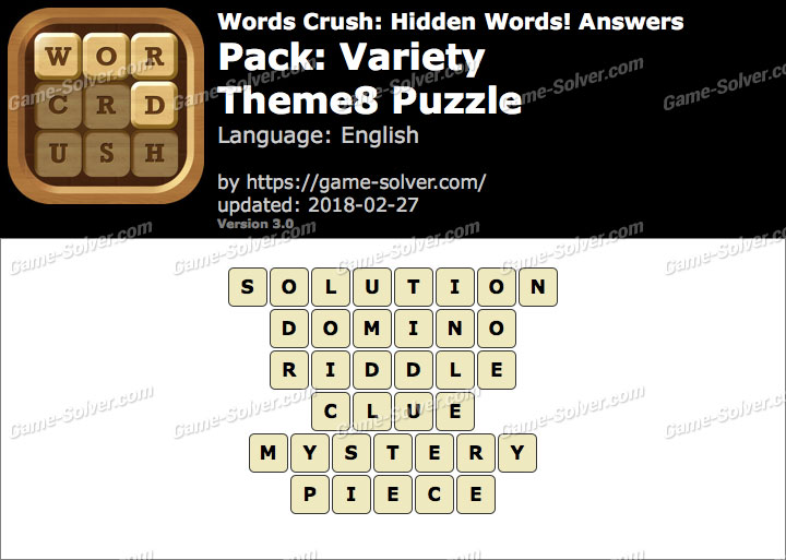 Words Crush Variety-Theme8 Puzzle Answers