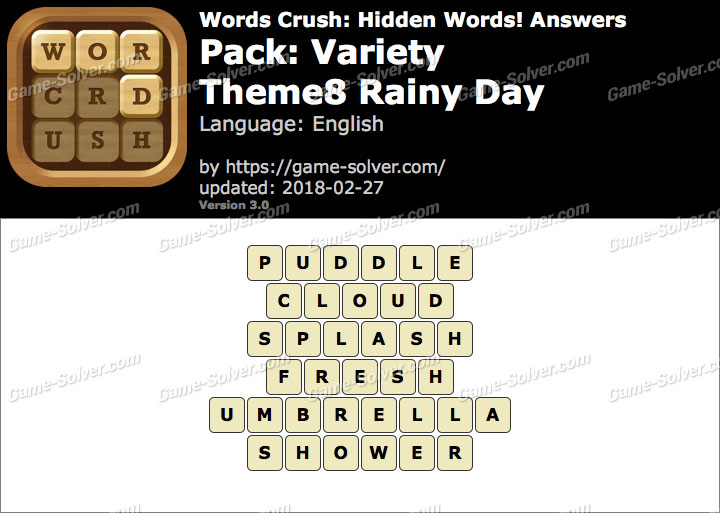 Words Crush Variety-Theme8 Rainy Day Answers