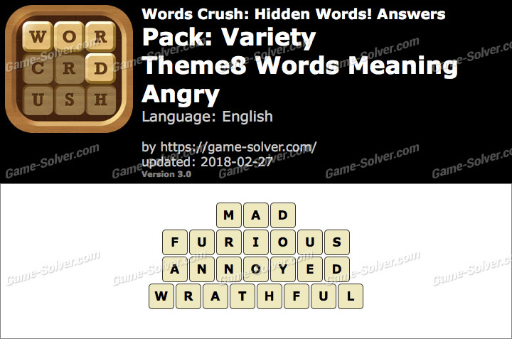 Words Crush Variety-Theme8 Words Meaning Angry Answers