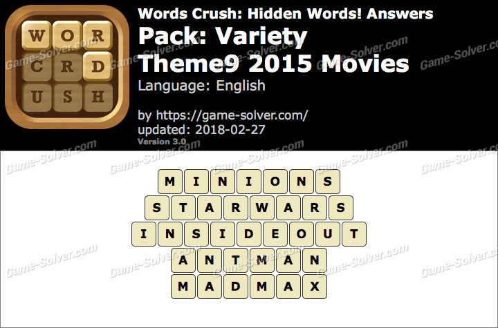 Words Crush Variety-Theme9 2015 Movies Answers