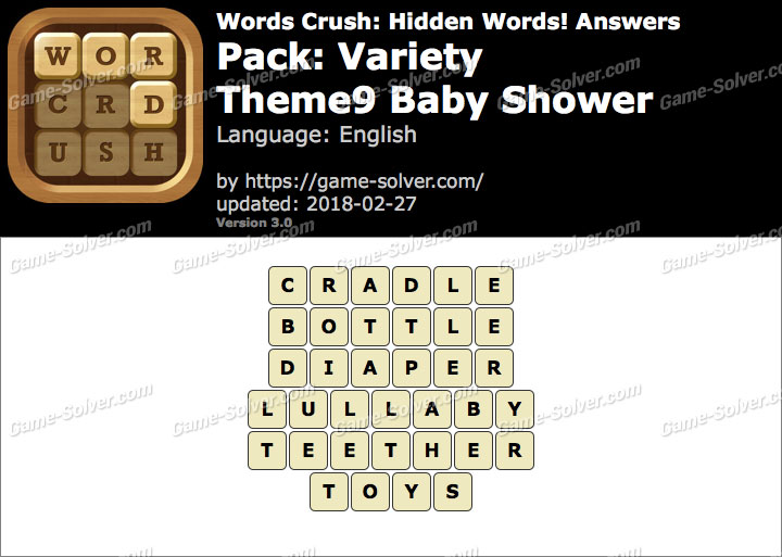 Words Crush Variety-Theme9 Baby Shower Answers