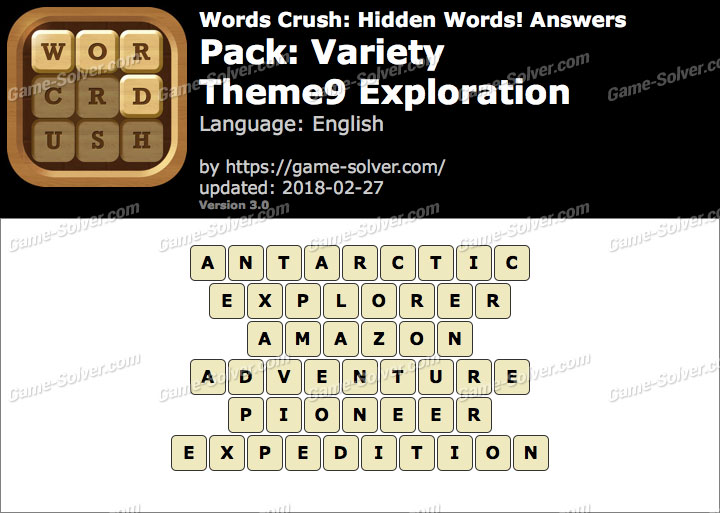 Words Crush Variety-Theme9 Exploration Answers