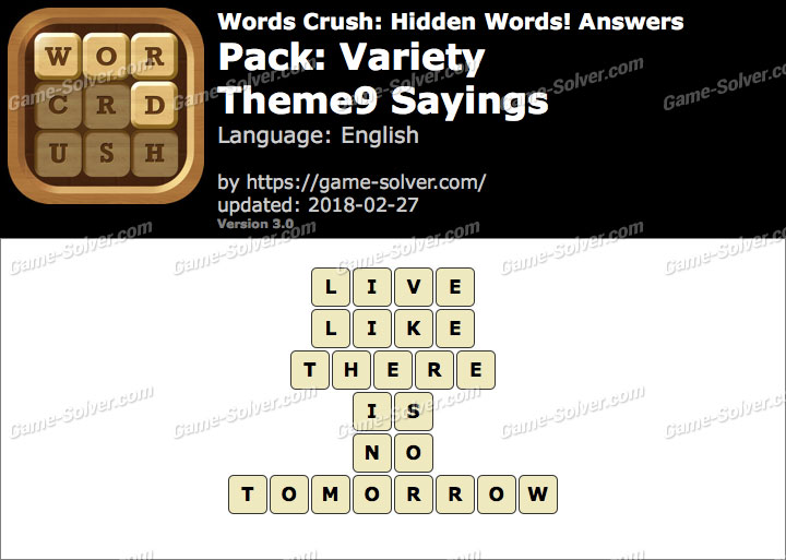 Words Crush Variety-Theme9 Sayings Answers