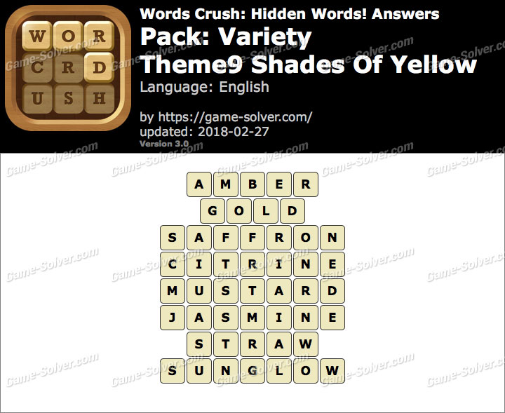 Words Crush Variety-Theme9 Shades Of Yellow Answers