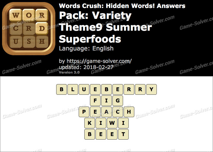 Words Crush Variety-Theme9 Summer Superfoods Answers
