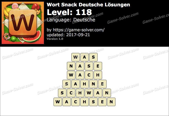 Wort Snack Level 118 Lösungen