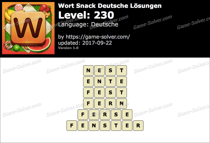 Wort Snack Level 230 Lösungen