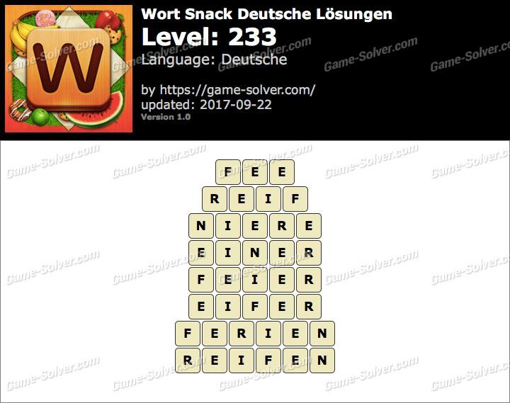 Wort Snack Level 233 Lösungen