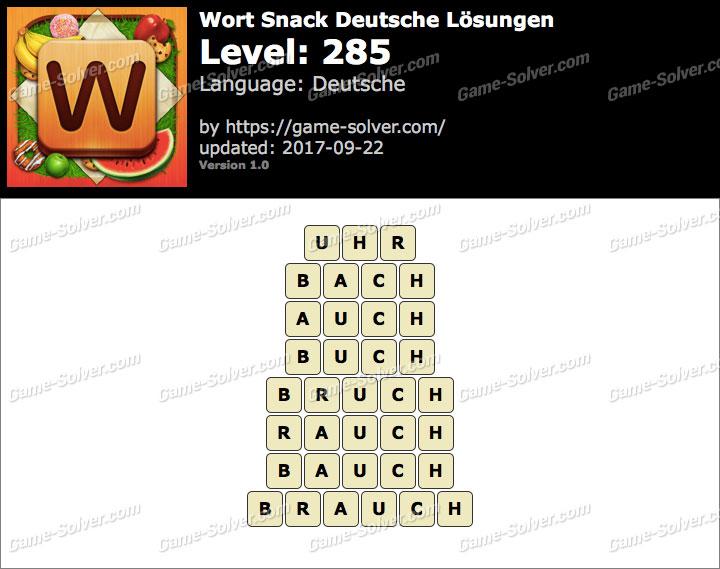 Wort Snack Level 285 Lösungen