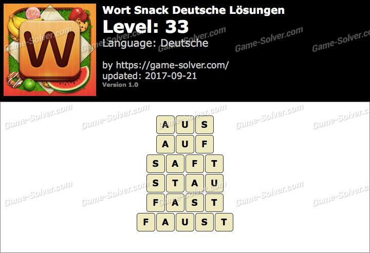 Wort Snack Level 33 Lösungen
