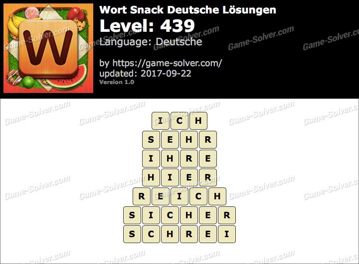 Wort Snack Level 439 Lösungen