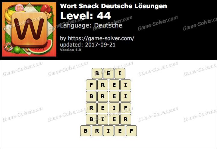 Wort Snack Level 44 Lösungen